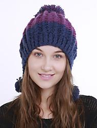 voordelige -Dames Actief leuke Style Acryl,Kleurenblok Floppy hoed-Herfst Winter Paars Fuchsia Marine Blauw
