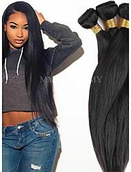 Недорогие -4 Связки Бразильские волосы Естественный прямой человеческие волосы Remy Человека ткет Волосы Пучок волос One Pack Solution 8-28inch Естественный цвет Ткет человеческих волос Косплей Мягкость Танцы