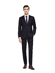 cheap -Black Solid Colored Standard Fit Wool Suit - Peak Single Breasted Two-buttons
