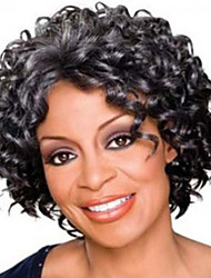 cheap -Synthetic Wig Afro Curly Style Free Part Capless Wig Dark Gray Grey Synthetic Hair 12 inch Women's Women / Synthetic / Easy dressing Dark Gray Wig Short Natural Wigs