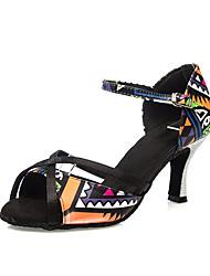 Недорогие -Жен. Обувь для латины Искусственная кожа На каблуках Пряжки Тонкий высокий каблук Танцевальная обувь Цвет радуги