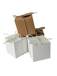 お買い得  -キュービック クラフト紙 好意のホルダー とともに サッシ / リボン 生活雑貨 / ラッピングボックス / ギフトボックス / ギフトボックス - 50枚