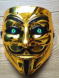 Недорогие -V — значит вендетта Косплэй Kостюмы Маски Взрослые Муж. Косплей Хэллоуин Хэллоуин Карнавал Маскарад Фестиваль / праздник ПВХ Серебряный / Желтый / Золотой Карнавальные костюмы Контрастных цветов
