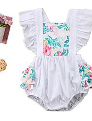 hesapli -Bebek Genç Kız Actif Çiçekli Kolsuz Pamuklu / Splandeks Tek Parça Beyaz
