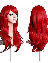 olcso -Szintetikus parókák Hullámos Stílus Középső rész Sapka nélküli Paróka Piros Piros Szintetikus haj 16 hüvelyk Női Parti Piros Paróka Rövid Természetes paróka