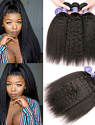 cheap -6 Bundles Brazilian Hair Yaki Straight Unprocessed Human Hair 100% Remy Hair Weave Bundles Natural Color Hair Weaves / Hair Bulk Bundle Hair One Pack Solution 8-28 inch Natural Color Human Hair Weaves