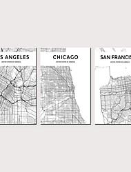 levne -Grafika Válcované plátno - Abstraktní Mapy Klasické Tři panely