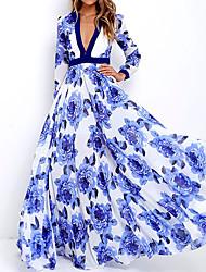 Недорогие -Жен. Элегантный стиль С летящей юбкой Платье - Цветочный принт, Цветы Цветочный Глубокий V-образный вырез Макси