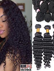 olcso -6 csomag Brazil haj Mély hullám Kémiai anyagoktól mentes / nyers Az emberi haj sző Késleltető Bundle Hair 8-28 hüvelyk Természetes szín Emberi haj sző Divatos dizájn Puha Hot eladó Human Hair
