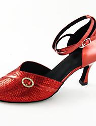 Недорогие -Жен. Обувь для модерна Полиуретан На каблуках Пряжки Тонкий высокий каблук Танцевальная обувь Золотой / Темно-красный