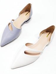 رخيصةأون -نسائي Leather نابا الربيع اخفاف كعب منخفض أبيض / أزرق