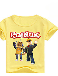 preiswerte -Kinder Mädchen Grundlegend Druck Kurzarm Baumwolle / Elasthan T-Shirt Rote