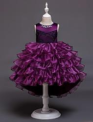 preiswerte -Kinder / Baby Mädchen Aktiv / Süß Solide Mehrlagig Ärmellos Asymmetrisch Kleid Rosa