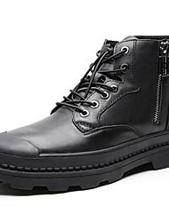 Недорогие -Муж. Комфортная обувь Кожа Зима Ботинки Ботинки Черный