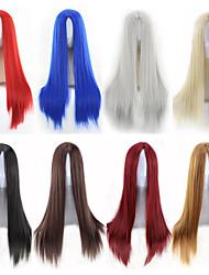 halpa -Synteettiset peruukit Suora Tyyli Keskiosa Suojuksettomat Peruukki Ombre Musta Pronssi Tummanruskea / tumma Auburn Synteettiset hiukset 22 inch Naisten Naisten Ombre Peruukki Hyvin pitkä Luonnollinen