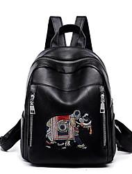 رخيصةأون -نسائي / للفتيات أكياس PU حقيبة ظهر سحاب تطريز أسود