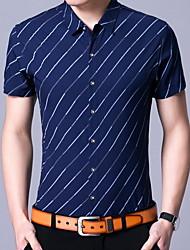 cheap -Men's Shirt - Striped Blue XL