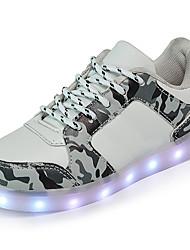 billige -Drenge / Pige Sko PU Forår / Efterår Lysende Sko Sneakers Gang LED for Børn Hvid / Sort / Regnbue