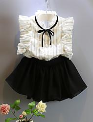 hesapli -Çocuklar Genç Kız Actif / Sokak Şıklığı Çizgili / Kırk Yama Fırfırlı / Kırk Yama Kolsuz Normal Suni İpek / Polyester Kıyafet Seti Beyaz