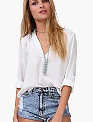 levne -Dámské - Jednobarevné Košile, Patchwork