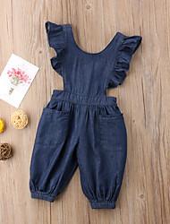 hesapli -Toddler Genç Kız Actif / Temel Solid Arkasız / Fırfırlı Pamuklu / Polyester / Splandeks Tulumlar Koyu Mavi