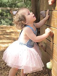 Χαμηλού Κόστους -Παιδιά / Νήπιο Κοριτσίστικα Ενεργό / Γλυκός Μονόχρωμο / Γαλαξίας Patchwork / Στάμπα Αμάνικο Ως το Γόνατο Βαμβάκι / Ακρυλικό / Spandex Φόρεμα Θαλασσί