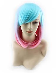 halpa -Synteettiset peruukit Kinky Straight Tyyli Keskiosa Suojuksettomat Peruukki Ombre Sateenkaari Synteettiset hiukset 14 inch Naisten Party Ombre Peruukki Keskipitkä Cosplay-peruukki