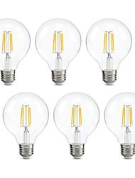 halpa -6kpl edison led globe lamppu g80 hehkulamput lämmin valkoinen 2700k kylpyhuone turhamaisuus lamppu 4w (40w vastaava) e26 / e27 base 220v