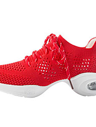 abordables -Mujer Zapatillas de Baile Tela Elástica Zapatilla Talón grueso Zapatos de baile Blanco / Negro / Rojo