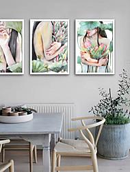 Недорогие -Холст в раме Набор в раме - Люди Цветочные мотивы / ботанический Пластик Иллюстрации Предметы искусства