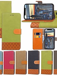 billige -Etui Til Apple iPhone XR / iPhone XS Max Kortholder / Med stativ / Flip Fuldt etui Ensfarvet / Geometrisk mønster Hårdt Tekstil for iPhone XS / iPhone XR / iPhone XS Max