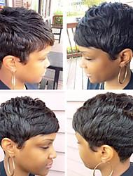 billige -Human Hair Capless Parykker Menneskehår Naturligt, bølget hår / Naturlig lige Pixie frisure / Frisure i lag / Assymetrisk frisure Justerbar / Varme resistent / Hot Salg Sort Kort Lågløs Paryk Dame