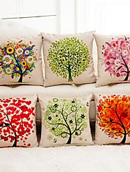 Недорогие -1 штук Хлопок / Лён Наволочка, Деревья / Листья 3D-печати Мода Modern Бросить подушку