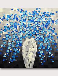 hesapli -Hang-Boyalı Yağlıboya Resim El-Boyalı - Soyut Çiçek / Botanik Çağdaş Modern Iç çerçeve dahil / Gerilmiş kanvas