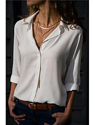 Недорогие -Жен. Блуза Рубашечный воротник Однотонный Серый