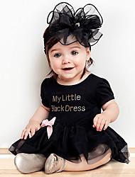 お買い得  -赤ちゃん 女の子 活発的 / ベーシック ソリッド リボン / フリル / チュール 半袖 コットン / ポリエステル ワンピース ブラック