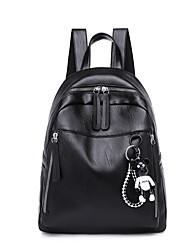 رخيصةأون -نسائي أكياس جلد PU حقيبة ظهر سحاب لون الصلبة أسود