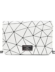رخيصةأون -نسائي أكياس PU حقيبة كروس سلسلة أبيض / أسود / فضي