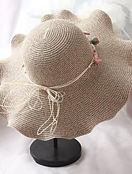 Недорогие -Жен. Активный Классический Симпатичные Стиль Соломенная шляпа Шляпа от солнца Солома,Однотонный Цветочный принт Все сезоны Бежевый Хаки