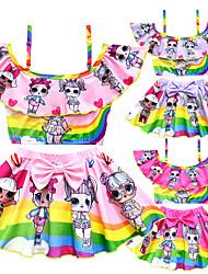 ราคาถูก -ชุดว่ายน้ำ ชุดว่ายน้ำชุดคอสเพลย์ สาวบี สำหรับเด็ก คอสเพลย์และคอสตูม คอสเพลย์ วันฮาโลวีน สีม่วง / สีบานเย็น / สีชมพู การ์ตูน Printing Polyster เด็กผู้หญิง วันคริสต์มาส วันฮาโลวีน เทศกาลคานาวาล / Top