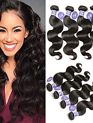 cheap -4 Bundles Indian Hair Body Wave Unprocessed Human Hair 100% Remy Hair Weave Bundles Natural Color Hair Weaves / Hair Bulk Bundle Hair Human Hair Extensions 8-28 inch Natural Color Human Hair Weaves