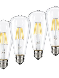 preiswerte -6 W LED Glühlampen 540 lm E26 / E27 ST64 6 LED-Perlen COB Abblendbar Warmes Weiß Kühles Weiß 220-240 V, 4pcs / RoHs