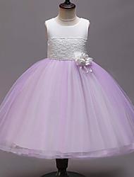 お買い得  -子供 女の子 かわいいスタイル フラワー パッチワーク メッシュ パッチワーク ノースリーブ レーヨン ポリエステル ドレス ピンク