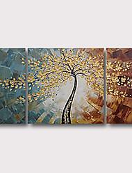 abordables -Peinture à l'huile Hang-peint Peint à la main - Abstrait Paysages Abstraits Contemporain Moderne Inclure cadre intérieur / Trois Panneaux