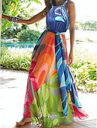 Недорогие -Жен. Пляж Секси Богемный Туника С летящей юбкой Абайя Платье Цветочный Шифон Хальтер Макси