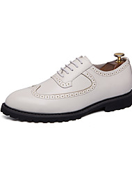 cheap -Men's Comfort Shoes Faux Leather Spring & Summer British Oxfords Breathable White / Black / Tassel / Party & Evening