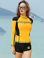 halpa -JIAAO Naisten Rashguard-uimapuku Uima-asut Pidä lämpimänä UV-aurinkosuojaus Full Body Etuvetoketju - Uinti Sukellus Vesiurheilu Patchwork Syksy Kevät Kesä / Elastinen