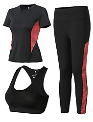 voordelige -3 stuks Dames Yoga pak Fuchsia Groen Grijs Sport Kleurenblok Sportoutfits Yoga Gym training Korte mouw Sportkleding Ademend Sneldrogend Zweetafvoerend Power Flex Hoge Elasticiteit