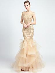 5e58be50c2 baratos Vestidos de Noite-Sereia Decorado com Bijuteria Cauda Corte Organza  Vestido com Apliques