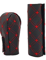 Недорогие -Крышка рукоятки рычага переключения передач из искусственной кожи с крышкой ручного тормоза 2 в 1 комплекте красный / белый